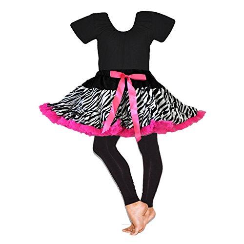 Girl's Costumes-Tutu, Leotard & Legging 3PCs Set (Zebra-pink)