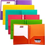 JAM Paper® Eco Friendly Biodegradable 2 Pocket Plastic School Presentation Folders with Metal Clasps (Back To School Deal!) - Assorted Fashion Colors - Pack of 6 Folders