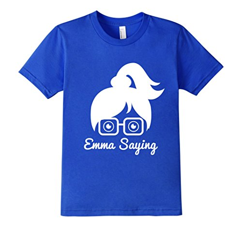 Kids-EmmaSaying-Fan-Club-Logo-T-Shirt-Nerdy-Girl-With-Glasses-Royal-Blue