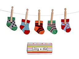 Lilly & Sid Boys Socks in a Box - 5 Pairs - 0-9 Months