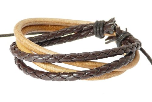 Neptune Giftware Multi-Strand Leather Strap & Cord Surf Wristband Bracelet - 204