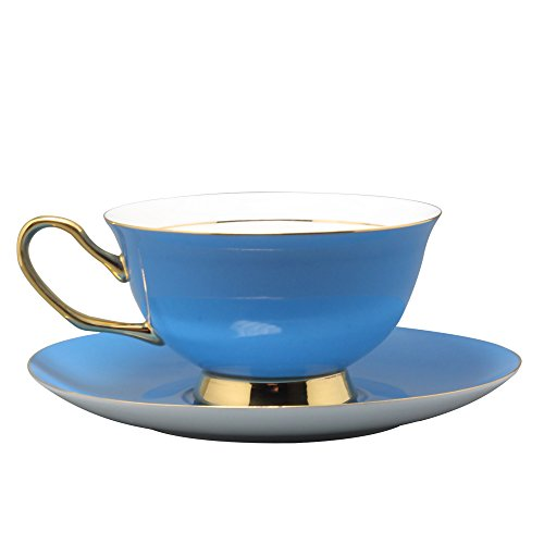 Colorful Coffee Cup and Saucer Sets (Light Blue)