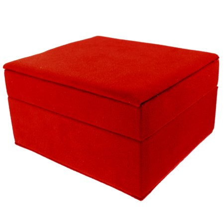 Jewelry Box W/ Cleaning Cloth Mirror Red Velveteen Case