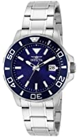 Invicta Men's Quartz Watch with Blue Dial Analogue Display and Silver Stainless Steel Bracelet 15179