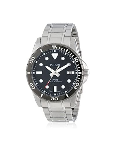 Pulsar by Seiko Men's PS9111 Diver Silver/Black Stainless Steel Watch
