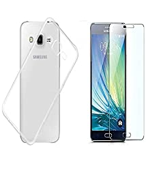 INFINITO (TM) Crystal Clear Case Soft Flexible Transparent Back Cover & Tempered Glass Combo For Samsung Galaxy Grand 2 G7102/G7106