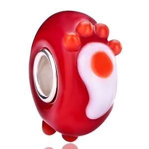 Pugster Cute Footprint Light Siam Murano Glass Wheel Bead Fits Pandora Charm Bracelet Spacer Charm Bracelet