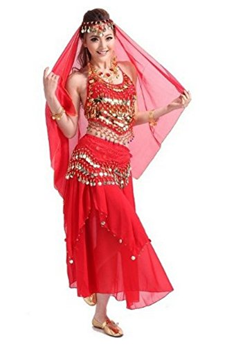 [Unbranded products: Red belly dancing costumes, set of 4 (Slinky hip scarves hip skirts veils)