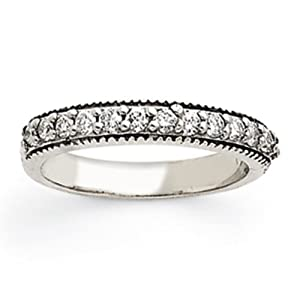 IceCarats Designer Jewelry Size 6 14K White Gold Aa Diamond Anniversary Band