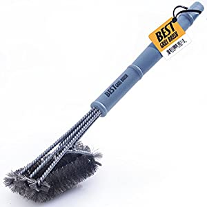 """Best BBQ Grill Brush STAINLESS STEEL) - 18"""" Barbecue Cleaning Brush with Wire Bristles and Soft Comfortable Handle - Perfect Cleaner & Scraper for Grill Cooking Grates, Racks, & Burners BEST"""