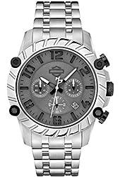 Harley-Davidson Men's Bulova Charcoal Wrist Watch Stainless Steel 78B133