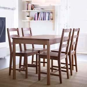 cheap price ikea table and 4 chairs set solid pine wood dining kitchen