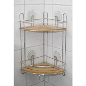 Tag re d 39 angle en bois bambou chrom ventouse amazon for Etagere salle de bain a ventouse