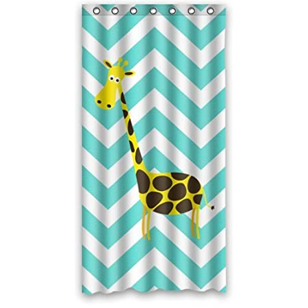 "Special Design Cute Giraffe on Chevron Pattern Waterproof Bathroom Fabric Shower Curtain,Bathroom decor 36"" x 72"""