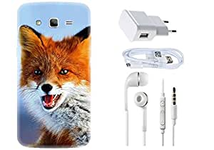 Spygen Samsung SM-G7106 Galaxy Grand 2 Case Combo of Premium Quality Designer Printed 3D Lightweight Slim Matte Finish Hard Case Back Cover + Charger Adapter + High Speed Data Cable + Premium Quality Handfree