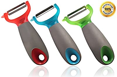 Set of 3 Premium stainless steel blade fruit and vegetable peeler and best potato peeler & fruit & carrot peelers
