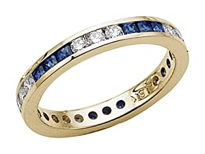 Karina B (tm) Genuine Sapphire Eternity Band in 18 kt Yellow Gold Size 5