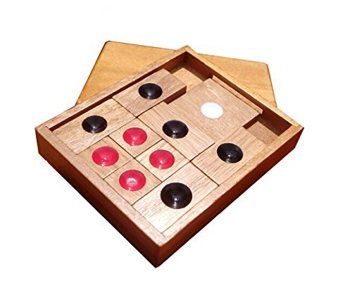 WISDOMTOY Classic Wooden Brain Teaser Slide Escape Maze Puzzle Board Game Educational Toy for Kids and Adults