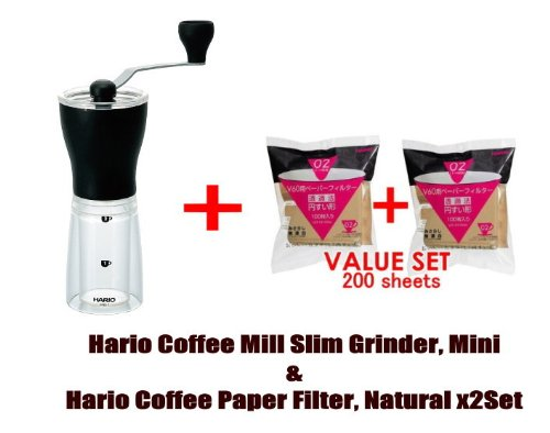 Hario Coffee Mill Slim Grinder, Mini & Hario 02 100 Count Coffee Paper Filter, Natural ×2 Set(total 200 Sheets)- Starter Value Set (With Values Japan Original Discription of Goods)