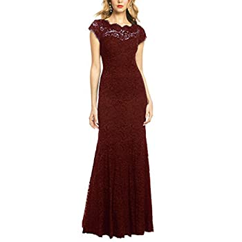 REPHYLLIS Women's Retro Floral Lace Vintage Wedding Maxi Bridesmaid Long Dress