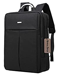 Bronze Times (TM) Unisex 14 inch T-shape Top Canvas Busniess Travel Computer Backpack (B-Black)