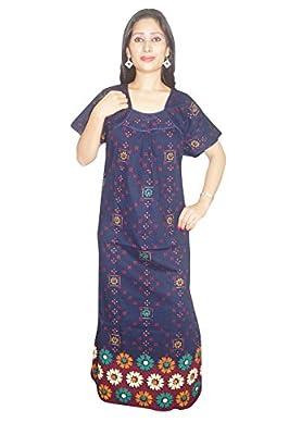 Indiatrendzs Women's Nightwear Maxi Night Dress Cotton Printed Blue Night Gown