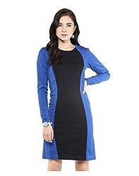 Yepme Color Block Bodycon Dress - Blue & Black -- YPMDRES0175_M
