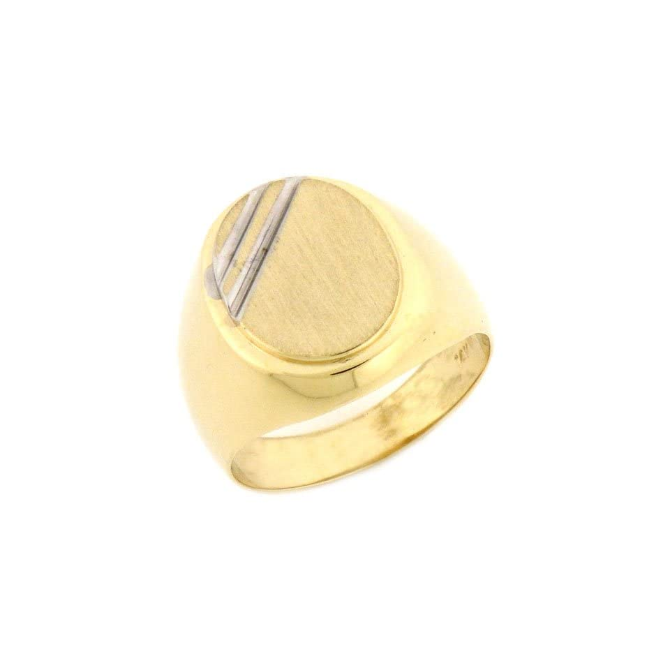 10k Solid Yellow Gold Oval Signet Mens Ring