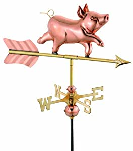 Good Directions 8800PG Whimsical Pig Garden Weathervane with Garden Pole, Polished Copper