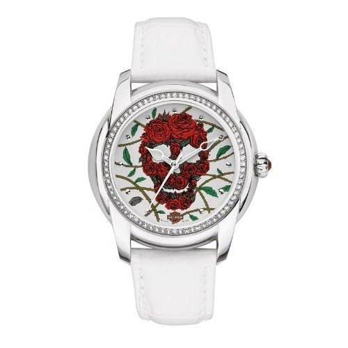 Harley-Davidson® Bulova Women's Watch. Swarovski® crystals. White Leather Strap. 76L153