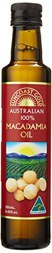 Suncoast Gold Macadamia Oil Australian Oil Glass Bottle with Pour Spout, 250ml