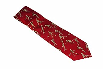 3B Scientific Red Silk Skeletons Playing Sports Necktie