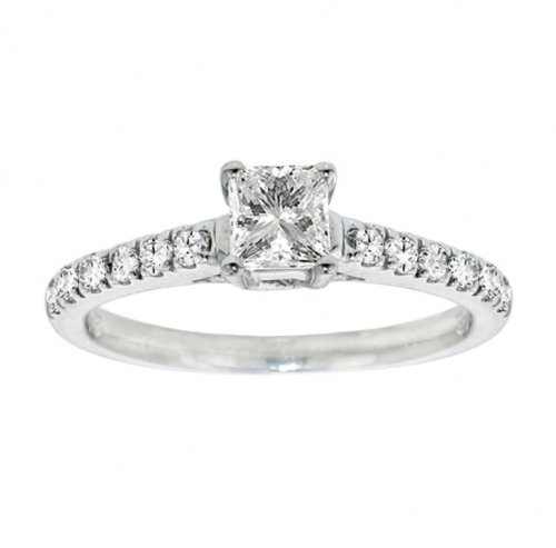 For sale 0.90 CT TW Pave Set Princess Cut Diamond Engagement Ring in 14k White Gold - Size 3.5