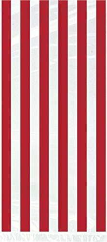 Striped Cellophane Bags, Red, 20 Count (Valentines Day Bag Ties compare prices)