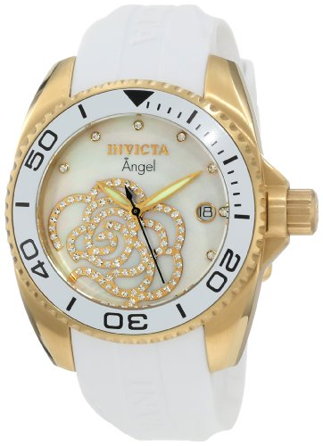 Invicta Women&#8217;s 0488 Angel Collection Cubic Zirconia Accented Polyurethane Watch