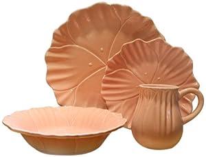 Euro Ceramica Tulip 16-Piece Dinnerware Set, Orange