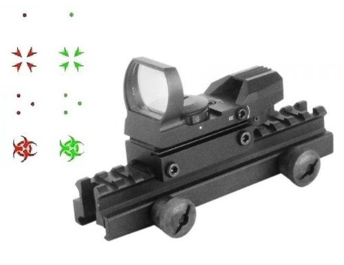 "Global Sportsman Qd Tactical 1"" Weaver-Picatinny High See Thru Stanag Riser Mount For Ar15 M4 Flattop Rifle Scope + Cqb 4 Multi Reticle Dual Red / Green Special Battle Edition Open Reflex Sight With Weaver-Picatinny Rail Mount - Combo Combination Package"