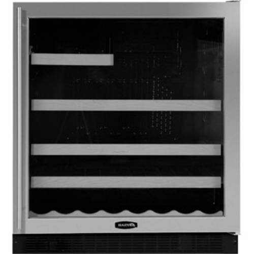 18 Bottle Dual Zone Wine Refrigerator Finish: Black Cabinet With Overlay Glass Door, Hinge Location: Right