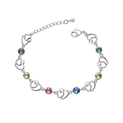 Swarovski Elements Crystal Interlocking Heart Bracelet With A Gift Box.