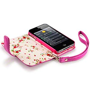 IPHONE 4S / IPHONE 4 PREMIUM PU LEATHER WALLET CASE / COVER / POUCH / HOLSTER WITH FLORAL INTERIOR - HOT PINK PART OF THE QUBITS ACCESSORIES RANGE