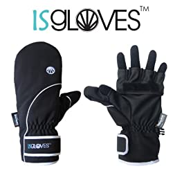 【ISGlovesアウトドア用スマホ手袋】ミトン型アウター部+5本指全てタッチ可インナー部の二重構造(Black)