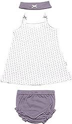 BIO KID Baby Girls' Dress (BG1I-T207-68, Purple and White, 0-6 m)