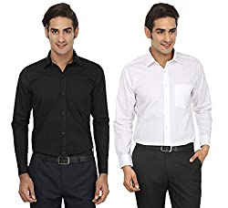 FOCIL Black & White Formal Wear Combo shirt for Men (Pack of 2)