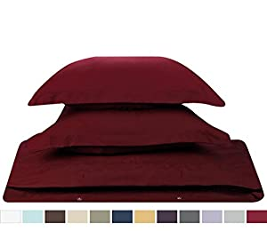 #1 Amazon Best Seller, 3-Piece Duvet Cover /1 Comforter Cover,- with 2 shames, (Queen Solid Burgundy Red,) By Nestl Bedding Supplies,