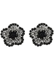 Jazz Jewellery CZ Flower Shape Embellished With Black And White Colour Stones Stud Earrings For Womens