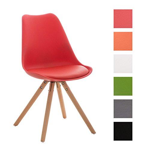 CLP-Design-Retro-Stuhl-PEGLEG-mit-Holzgestell-natura-Materialmix-aus-Kunststoff-Kunstleder-und-Holz-bis-zu-6-Farben-whlbar-rot