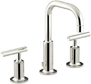 KOHLER K-14406-4-SN Purist Widespread Lavatory Faucet with Low Gooseneck and Low Lever Handles, Vibrant Polished Nickel