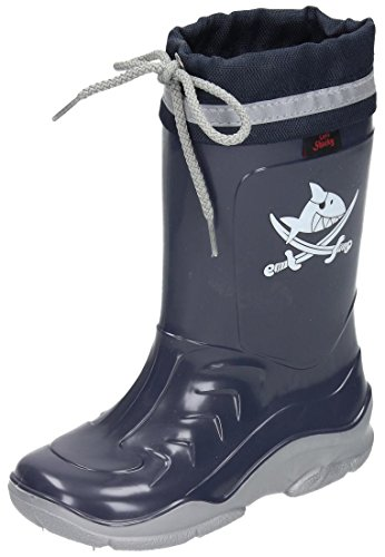 Captn Sharky boys rain boots blue/silver size 35 EU (Silver Blue Rain Boots compare prices)