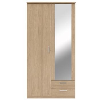Bronte 2 para puerta 2 cajones Armario con puertas de espejo - efecto madera de roble