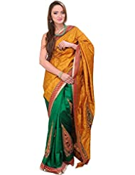 Exotic India Pale-Gold And Green Banarasi Saree With Embroidery In Self - Golden